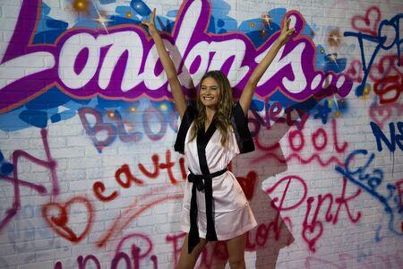 victorias secret show: LONDON, ENGLAND - DECEMBER 02: Model Behati Prinsloo backstage at the annual Victorias Secret fashion show at Earls Court on December 2, 2014 in London, England. Editorial