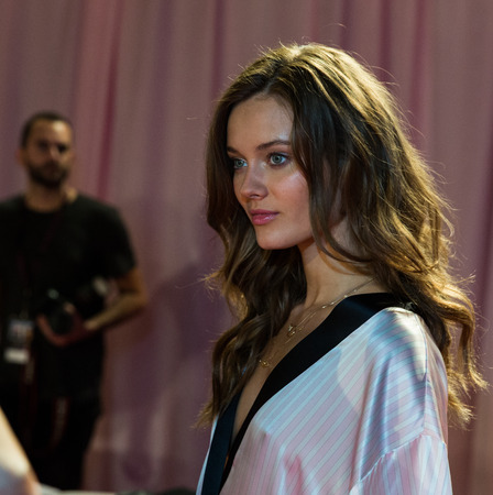 victorias secret show: LONDON, ENGLAND - DECEMBER 02: VS model poses backstage at the annual Victorias Secret fashion show at Earls Court on December 2, 2014 in London, England.