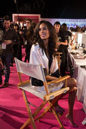 victorias secret show: LONDON, ENGLAND - DECEMBER 02: Cindy Bruna backstage at the annual Victorias Secret fashion show at Earls Court on December 2, 2014 in London, England. Editorial