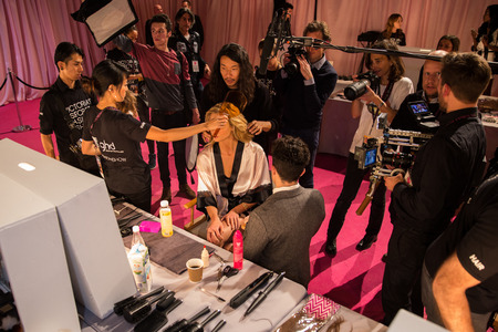 victorias secret show: LONDON, ENGLAND - DECEMBER 02: Atmosphere backstage at the annual Victorias Secret fashion show at Earls Court on December 2, 2014 in London, England. Editorial