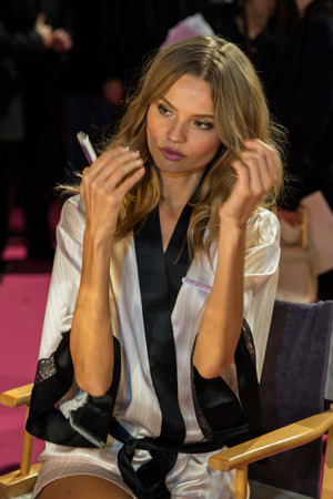 victorias secret show: LONDON, ENGLAND - DECEMBER 02: Magdalena Frackowiak backstage at the annual Victorias Secret fashion show at Earls Court on December 2, 2014 in London, England.