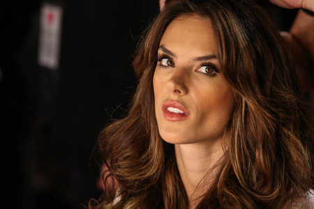 victorias secret show: LONDON, ENGLAND - DECEMBER 02: Alessandra Ambrosio backstage at the annual Victorias Secret fashion show at Earls Court on December 2, 2014 in London, England.
