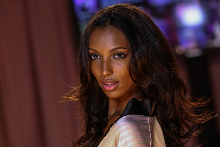 american sexy: LONDON, ENGLAND - DECEMBER 02: Jasmine Tookes poses backstage at the annual Victorias Secret fashion show at Earls Court on December 2, 2014 in London, England. Editorial