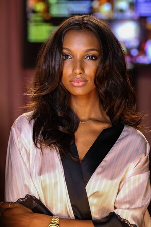 victorias secret show: LONDON, ENGLAND - DECEMBER 02: Jasmine Tookes poses backstage at the annual Victorias Secret fashion show at Earls Court on December 2, 2014 in London, England. Editorial