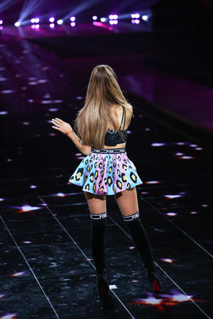 victorias secret show: LONDON, ENGLAND - DECEMBER 02: Singer Ariana Grande performs onstage during the 2014 Victorias Secret Fashion Show on December 2, 2014 in London, England.