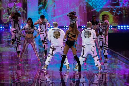 victoria secret: LONDON, ENGLAND - DECEMBER 02: Singer Ariana Grande performs at the annual Victorias Secret fashion show on December 2, 2014 in London, England.