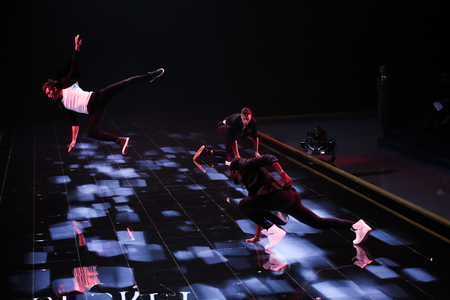 performs: LONDON, ENGLAND - DECEMBER 02: Dancers performs at the annual Victorias Secret fashion show on December 2, 2014 in London, England. Editorial