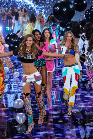 supermodel: LONDON, ENGLAND - DECEMBER 02: Models during 2014 VS Fashion Show finale on December 2, 2014 in London, England. Editorial
