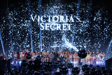 LONDON, ENGLAND - DECEMBER 02: The end of the finale at the the 2014 Victoria's Secret Fashion Show at Earl's Court exhibition centre on December 2, 2014 in London, England.
