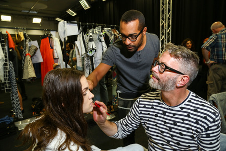 designer label: MILAN, ITALY - SEPTEMBER 17: A general atmosphere backstage during the Byblos show as a part of Milan Fashion Week Womenswear SpringSummer 2015 on September 17, 2014 in Milan, Italy. Editorial