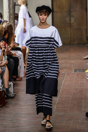 MILAN, ITALY - SEPTEMBER 17: A model walks the runway during the IM Isola Marras show as part of Milan Fashion Week Womenswear SpringSummer 2015 on September 17, 2014 in Milan, Italy.