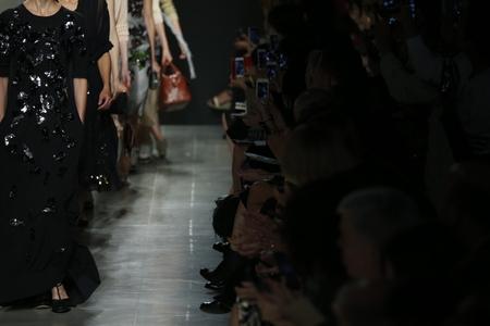 MILAN, ITALY - SEPTEMBER 20: Models walk the runway during Bottega Veneta show as a part of Milan Fashion Week Womenswear SpringSummer 2015 on September 20, 2014 in Milan, Italy