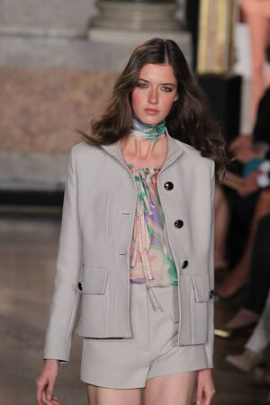 MILAN, ITALY - SEPTEMBER 20: A model walks the runway at the Emilio Pucci show as a part of Milan Fashion Week Womenswear SpringSummer 2015 on September 20, 2014 in Milan, Italy.
