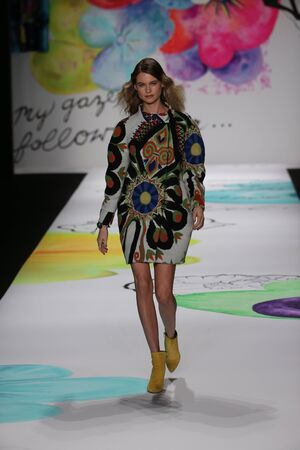 NEW YORK, NY - FEBRUARY 12: Behati Prinsloo walks the runway at the Desigual fashion show during Mercedes-Benz Fashion Week Fall 2015 at The Theatre at Lincoln Center on February 12, 2015 in New York City. Editöryel
