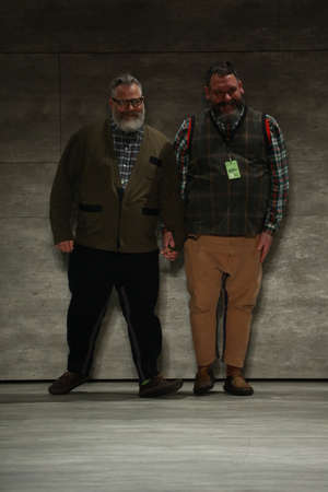 jeffrey: NEW YORK, NY - FEBRUARY 12: (L-R) Designers Jeffrey Costello and Robert Tagliapietra Pose at the Costello Tagliapietra Runway Show during Mercedes-Benz Fashion Week Fall Winter 2015 on February 12, 2015 in New York City.