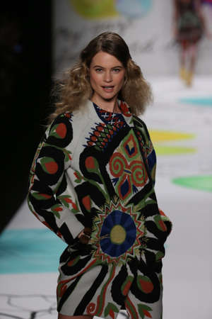 supermodel: NEW YORK, NY - FEBRUARY 12: Behati Prinsloo walks the runway at the Desigual fashion show during Mercedes-Benz Fashion Week Fall 2015 at The Theatre at Lincoln Center on February 12, 2015 in New York City. Editorial