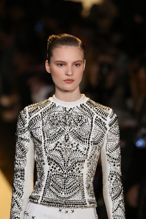 leger: NEW YORK, NY - FEBRUARY 14: A model walks the runway at Herve Leger by Max Azria fashion show during Mercedes-Benz Fashion Week Fall 2015 at Lincoln Center on February 14, 2015 in New York City Editorial
