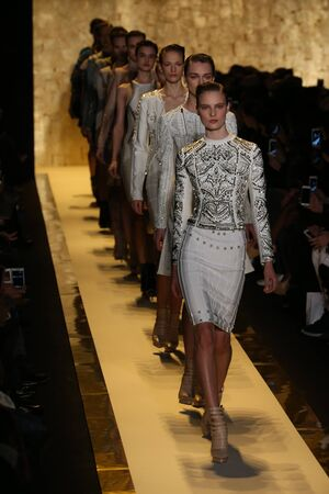 leger: NEW YORK, NY - FEBRUARY 14: Models walk the runway finale at Herve Leger by Max Azria fashion show during Mercedes-Benz Fashion Week Fall 2015 at Lincoln Center on February 14, 2015 in New York City Editorial