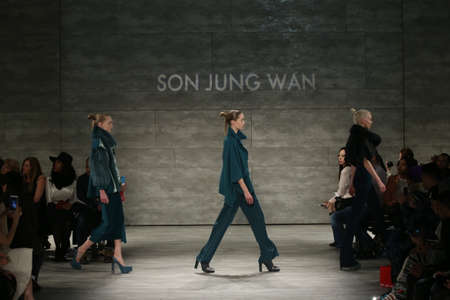 jung: NEW YORK, NY - FEBRUARY 14: Models walk the runway finale at Son Jung Wan fashion show during Mercedes-Benz Fashion Week Fall 2015 at Lincoln Center on February 14, 2015 in New York City