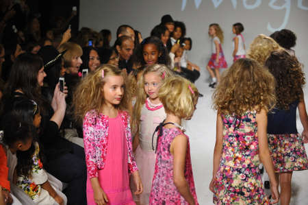 bathhouse: NEW YORK, NY - OCTOBER 18: Models walk the runway during the Imoga preview at petitePARADE  Kids Fashion Week at Bathhouse Studios on October 18, 2014 in New York City.