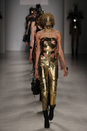 bodypaint: NEW YORK, NY - FEBRUARY 15: A model walks the runway wearing Antonio Urzi collection at the FTL Moda fashion show during MBFW Fall 2015 at Lincoln Center on February 15, 2015 in NYC