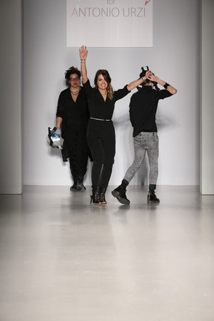 bodypaint: NEW YORK, NY - FEBRUARY 15: Designers of Antonio Urzi walks runway at finale Antonio Urzi collection at the FTL Moda during MBFW Fall 2015 at Lincoln Center on February 15, 2015 in NYC