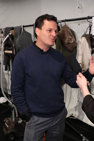 sergio: NEW YORK, NY - FEBRUARY 19: Designer Sergio Davila backstage at the SERGIO DAVILA fashion show during Mercedes-Benz Fashion Week Fall 2015 at The Pavilion at Lincoln Center on February 19, 2015 in NYC.