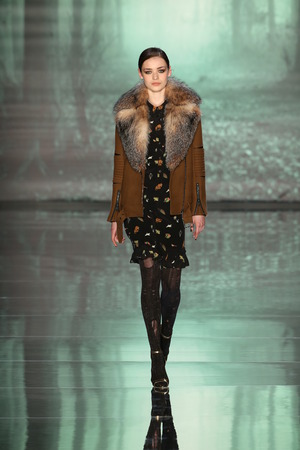 miller: NEW YORK, NY - FEBRUARY 13: A model walks runway at the Nicole Miller fashion show during MBFW Fall 2015 at Lincoln Center on February 13, 2015 in NYC