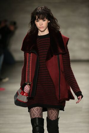 supermodel: NEW YORK, NY - FEBRUARY 13: A model walks the runway at the Rebecca Minkoff fashion show with TRESemme during Mercedes-Benz Fashion Week Fall 2015 at Lincoln Center on February 13, 2015 in NYC