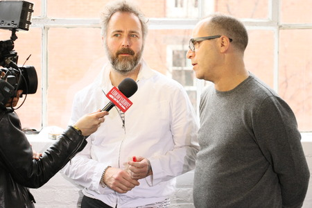 steven: NEW YORK, NY - FEBRUARY 12: Designer couple Steven Cox(L) and Daniel Silver(R) giving interview at the Duckie Brown Fashion Show during MBFW Fall 2015 at Industria Superstudio on February 12, 2015 in NYC