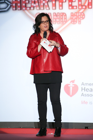 speaks: NEW YORK, NY - FEBRUARY 12: Rosie ODonnell speaks onstage on the runway at the Go Red For Women Red Dress Collection 2015 presented by Macys fashion show during MBFW Fall 2015 at Lincoln Center on February 12, 2015 in NYC Editorial
