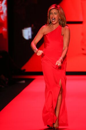 NEW YORK, NY - FEBRUARY 12: Hoda Kotb walks the runway at the Go Red For Women Red Dress Collection 2015 presented by Macy's fashion show during MBFW Fall 2015 at Lincoln Center on February 12, 2015 in NYC