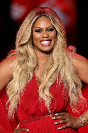 NEW YORK, NY - FEBRUARY 12: Laverne Cox walks the runway at the Go Red For Women Red Dress Collection 2015 presented by Macy's fashion show during MBFW Fall 2015 at Lincoln Center on February 12, 2015 in NYC Publikacyjne