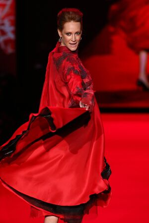NEW YORK, NY - FEBRUARY 12: Valerie Jean Garduno walks the runway at the Go Red For Women Red Dress Collection 2015 presented by Macy's fashion show during MBFW Fall 2015 at Lincoln Center on February 12, 2015 in NYC