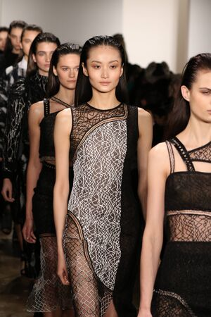 squiggles: NEW YORK, NY - FEBRUARY 12: Models walk the runway at Jonathan Simkhai fashion show during MADE Fashion Week Fall 2015 at Milk Studios on February 12, 2015 in NYC.
