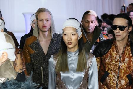 nina: NEW YORK, NY - FEBRUARY 13: Models walk at Nina Athanasiou Runway at MBFW Fall 2015 at The Designers Loft on February 13, 2015 in NYC. Editorial