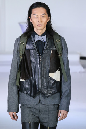 nina: NEW YORK, NY - FEBRUARY 13: A model walks at Nina Athanasiou Runway at MBFW Fall 2015 at The Designers Loft on February 13, 2015 in NYC. Editorial