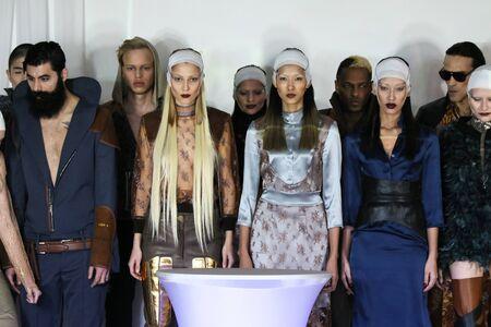 nina: NEW YORK, NY - FEBRUARY 13: Models walks at Nina Athanasiou Runway at MBFW Fall 2015 at The Designers Loft on February 13, 2015 in NYC.