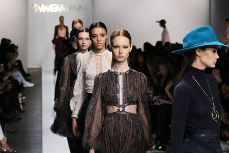 oxblood: NEW YORK, NY - FEBRUARY 13: Models walk the runway at Zimmermann fashion show during Mercedes-Benz Fashion Week Fall 2015 at ArtBeam on February 13, 2015 in NYC.