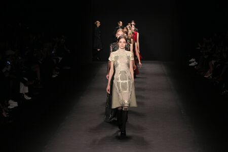chinoiserie: NEW YORK, NY - FEBRUARY 16: Models walk the runway at the Vivienne Tam fashion show during Mercedes-Benz Fashion Week Fall 2015 on February 16, 2015 in NYC.