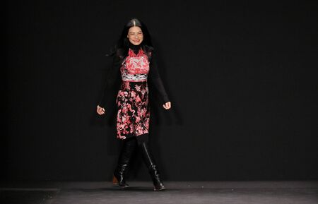 chinoiserie: NEW YORK, NY - FEBRUARY 16: Designer Vivienne Tam walks the runway at the Vivienne Tam fashion show during MBFW Fall 2015 on February 16, 2015 in NYC.