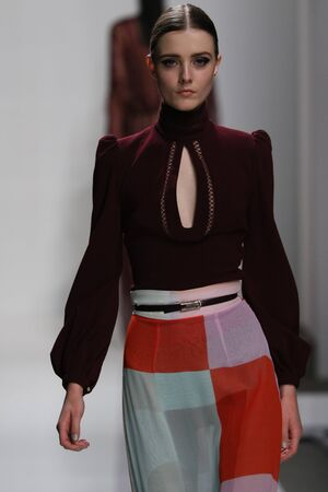 oxblood: NEW YORK, NY - FEBRUARY 13: A model walks the runway at Zimmermann fashion show during Mercedes-Benz Fashion Week Fall 2015 at ArtBeam on February 13, 2015 in NYC. Editorial
