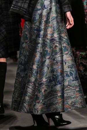 chinoiserie: NEW YORK, NY - FEBRUARY 16: Model walks the runway at the Vivienne Tam fashion show during Mercedes-Benz Fashion Week Fall 2015 on February 16, 2015 in NYC. Editorial