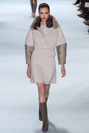 jane: NEW YORK, NY - FEBRUARY 16: Model Jane Gryennikova walks the runway wearing Carolina Herrera Fall 2015 Collection during MBFW at Lincoln Center on February 16, 2015 in NYC
