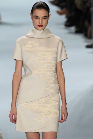 padilla: NEW YORK, NY - FEBRUARY 16: Model Blanca Padilla walks the runway wearing Carolina Herrera Fall 2015 Collection during MBFW at Lincoln Center on February 16, 2015 in NYC