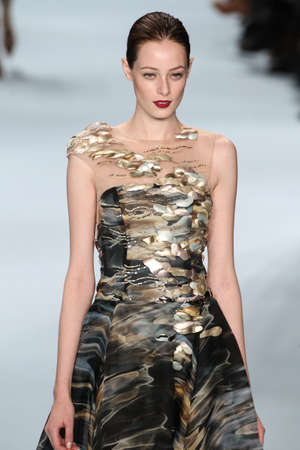 garcia: NEW YORK, NY - FEBRUARY 16: Model Thairine Garcia walks the runway wearing Carolina Herrera Fall 2015 Collection during MBFW at Lincoln Center on February 16, 2015 in NYC