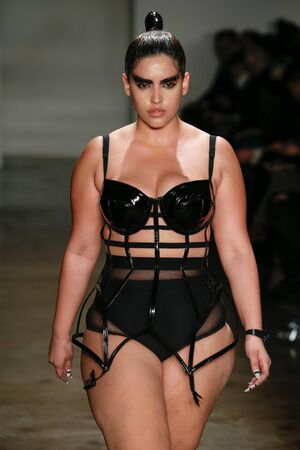 NEW YORK, NY - FEBRUARY 13: A model walks the runway at the Chromat AW15: Mindware fashion show during MBFW Fall 2015 at Milk Studios on February 13, 2015 in NYC