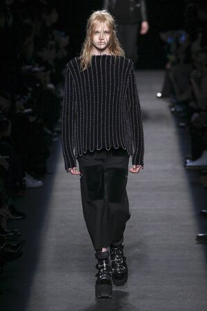 boxy: NEW YORK, NY - FEBRUARY 14: A model walks the runway wearing Alexander Wang during MBFW in New York at Pier 94 on February 14, 2015 in NYC. Editorial