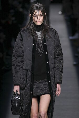 tuxedo jacket: NEW YORK, NY - FEBRUARY 14: A model walks the runway wearing Alexander Wang during MBFW in New York at Pier 94 on February 14, 2015 in NYC. Editorial