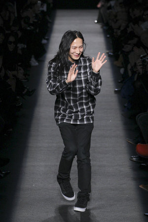 boxy: NEW YORK, NY - FEBRUARY 14: Designer Alexander Wang walks the runway after the Alexander Wang during MBFW in New York at Pier 94 on February 14, 2015 in NYC. Editorial